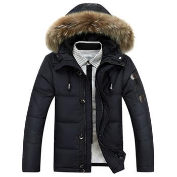 New Style Men's down Jacket Men's Short White Duck down Thick Fur Collar Outdoor Winter Men's Warm Plus-sized Jacket