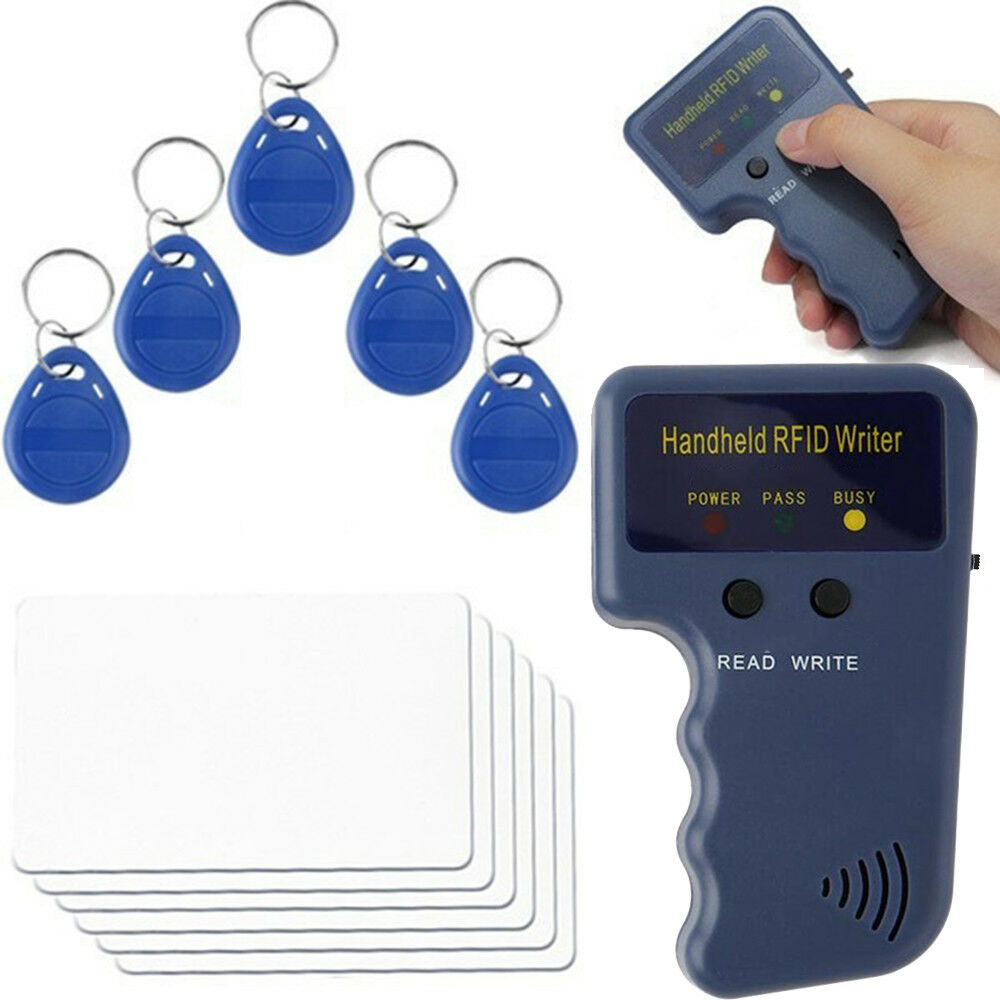 125KHz EM4100 RFID Copier Writer Duplicator Programmer Reader + T5577 EM4305 Rewritable ID Keyfobs Tags Cloner Card 5200 Handhel