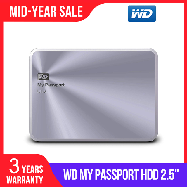 WD 3TB כסף שלי דרכון Ultra מתכת מהדורה נייד חיצוני כונן קשיח USB 3.0 WDBEZW0030BSL