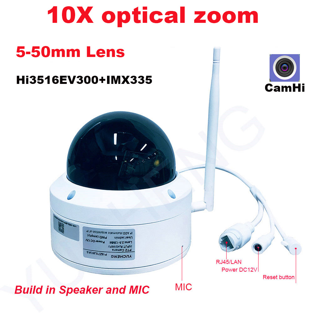 CamHi 5MP 4MP Wireless 10X Optical Zoom Speed Dome PTZ IP Camera Security Ip Camera  MIC Speaker Onvif P2P Outdoor 5-50mm Lens