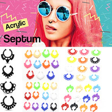 Women Nose Rings Colorful Acrylic Nose Ring Fake Nose Ring Septum Piercing Clip On Nose Ring Fake Piercing Body Clip Hoop(China)