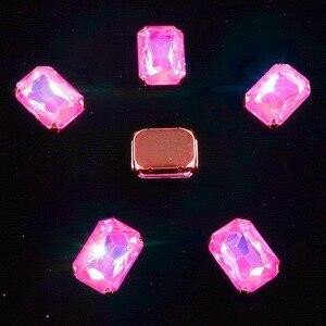 Image 5 - Hình Chữ Nhật Vàng Móng Vuốt Cài Đặt 20 Cái/gói 13X18Mm Jelly Candy & AB Màu Sắc Kính Pha Lê May Trên kim Cương Giả Váy Cưới Diy