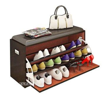 MAZ80 Free-Installation Wood Tipping Bucket Shoe Storage Cabinet Multifunctional Change Shoe Stool Shoe Rack Shoes Trying Stool