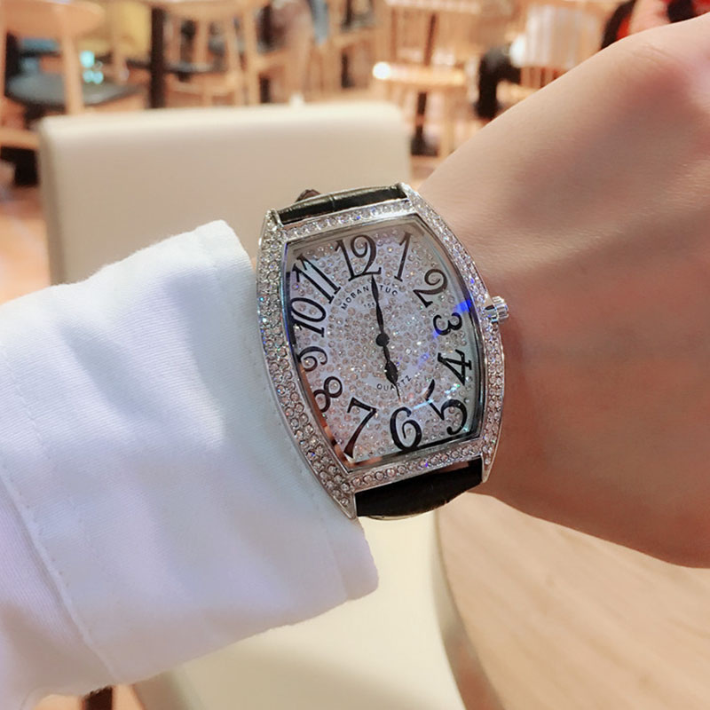 Full Diamond <font><b>Big</b></font> Dial Men's <font><b>Watch</b></font> <font><b>Unisex</b></font> Square Ladies <font><b>Watch</b></font> Luxury Brand Fashion Rhinestone Leather Relogio Masculino Women Man image