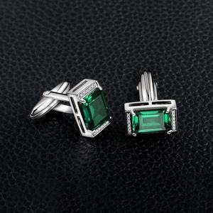 Image 2 - JewelryPalace erkekler lüks oluşturulan Nano rus zümrüt yıldönümü düğün kol düğmeleri 925 ayar gümüş