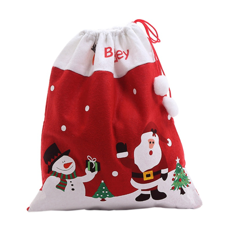1PC Santa Claus Christmas Festival Gifts Holders Gift Candy Bags Drawstring Type Candy Bake Biscuit Cookies Packaging Supplies