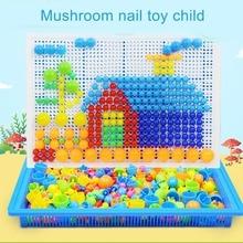 Mosaic Pegboard Kids Educational Toy 296pcs Mushroom Nails Jigsaw Puzzles Learning Toys FKU66