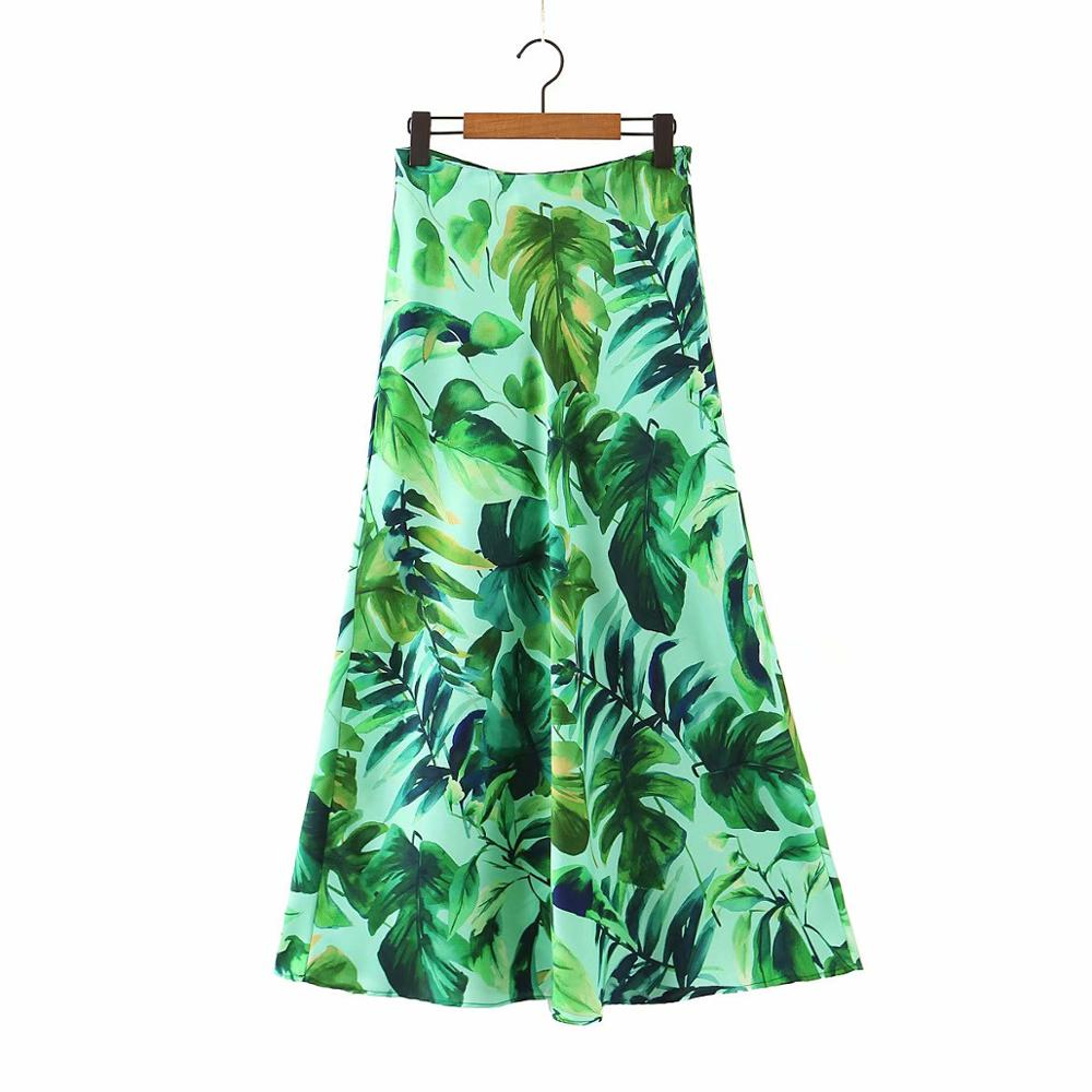 New 2020 Women Tropical Green Leaves Print Casual Slim A Line Skirt Faldas Mujer Ladies Side Zipper Vestido Summer Skirts QUN605