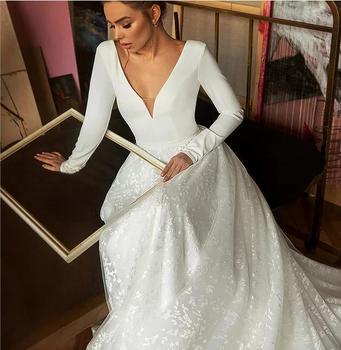 Booma Lace Wedding Dress 2019 Long Sleeve V-neck Boho Bridal Gowns Satin Backless White Vestido de noiva Plus size custom 3