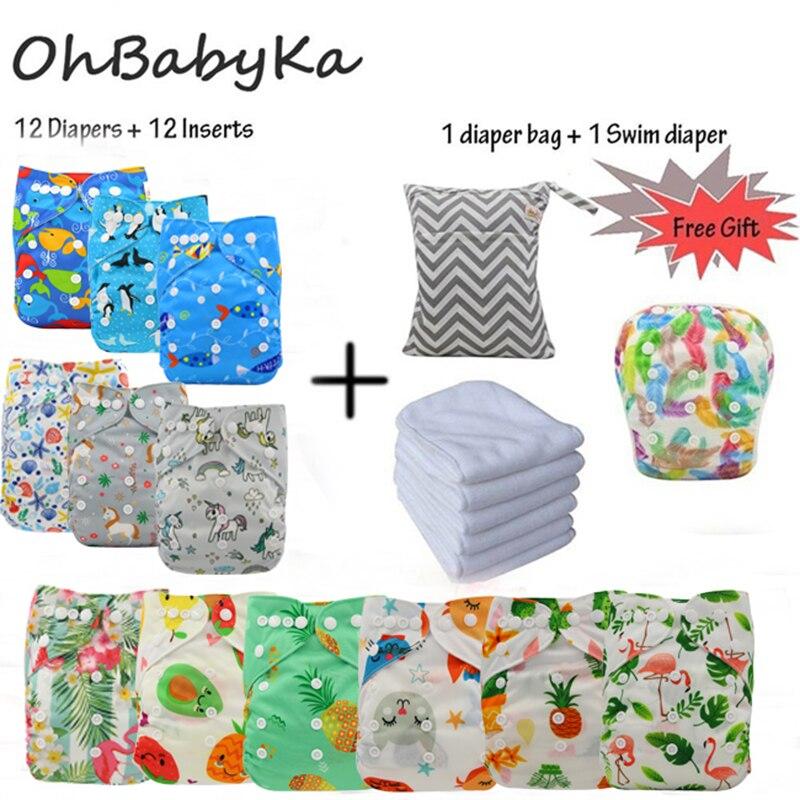 Многоразовые детские подгузники, моющиеся подгузники Ohbabyka, 12 шт. + 12 шт. вставок из микрофибры + 1 фотосумка
