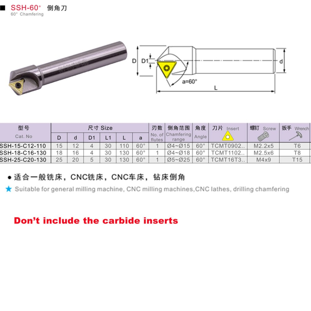 Chamfer cutter 45° for indexable inserts TCMT 16 t 3 D= 30mm