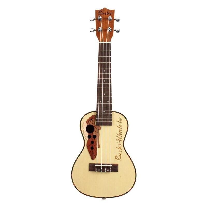 BURKS ukulélé épicéa Concert ukulélé guitare 4 cordes guitare hawaïenne Instruments de musique - 3