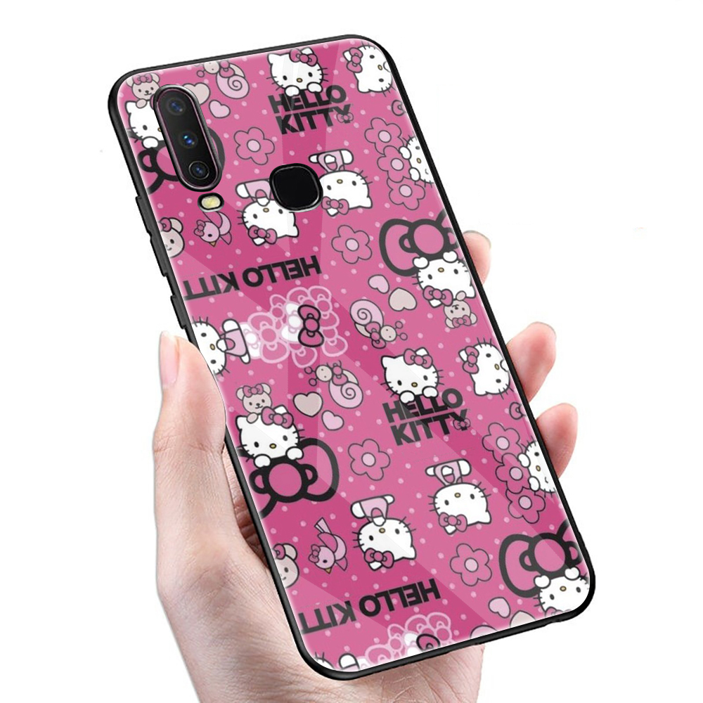 Hot Fashionable Hello Kitty Tempered Glass Phone <font><b>Case</b></font> <font><b>VIVO</b></font> Y11 <font><b>Y17</b></font> Y55 Y67 Y69 Y71 Y75 Y79 Y81S Y91C Y93 V9 V11 V15 Pro image