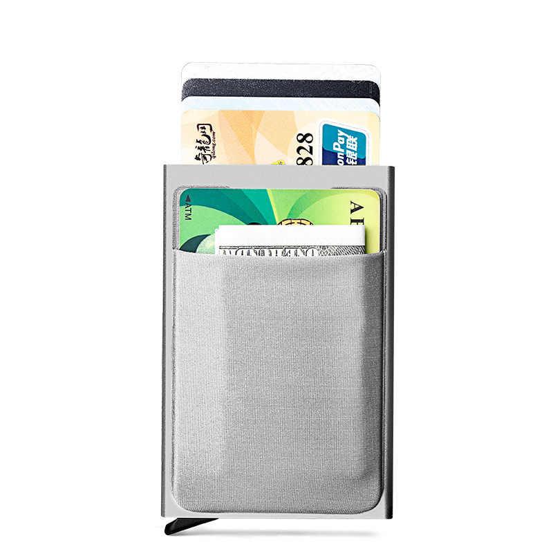 Rfid Karte Schlanke Männer Brieftaschen Geld Tasche Männlichen Vintage Kurze Brieftasche 2019 Schwarz Kleine Mini Brieftaschen Metall Geldbörse cartera mujer geld tasche