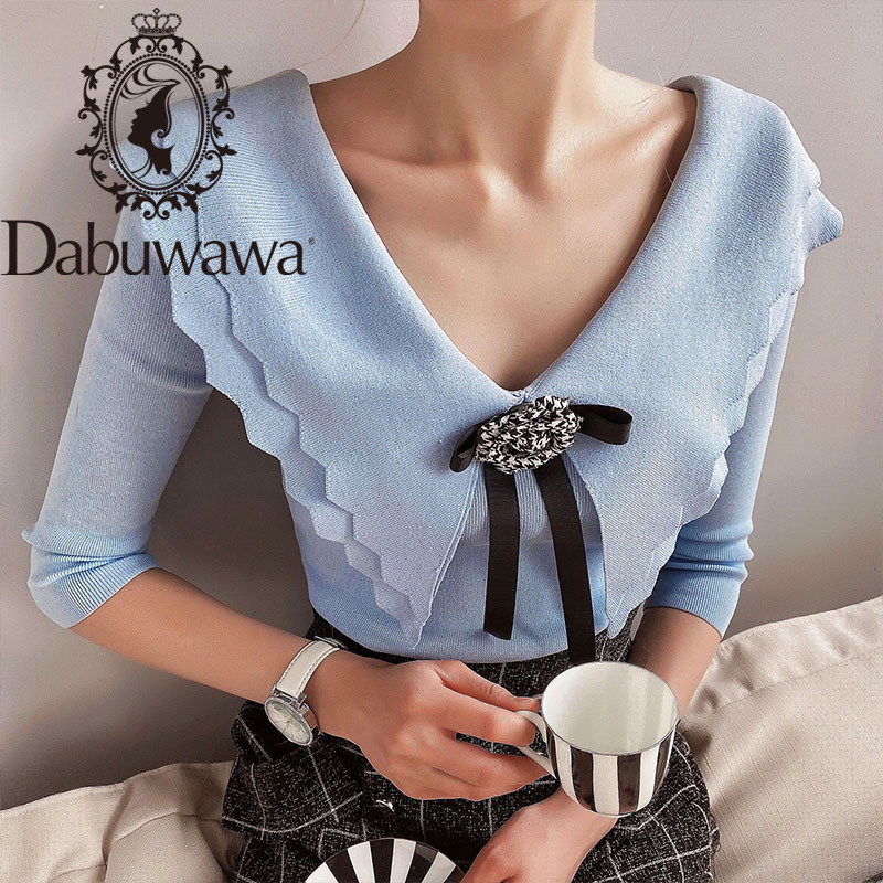 Dabuwawa Sweet Bow Double Layer Ruffle V-Neck Sweater Women Slim Fitted Spring Autumn Casual Solid Pullover Female DO1BJS004