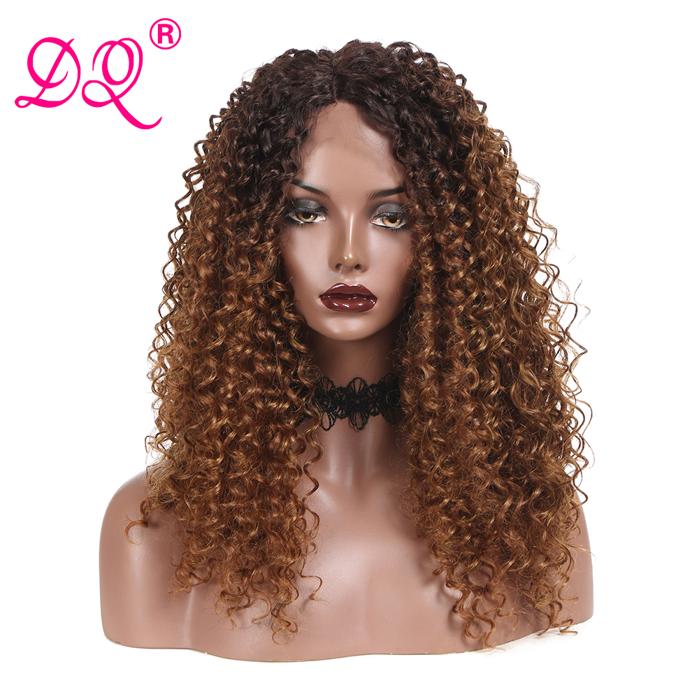 DQ Long Curly Synthetic Lace Front Wig Women Heat Resistant Fiber Daily Party Cosplay Wig Ombre Brown Red Black Wig Middle Part