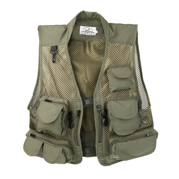 Męska połowów siatkowa kamizelka z wieloma kieszeniami sportowe na świeżym powietrzu Super lekki zielony tanie i dobre opinie MagiDeal Poliester Szybkie suche Mesh Fishing Vest Travel Hunting Sports Outdoor Quick Dry Fishing Vest Pack Multi-pocket Jacket