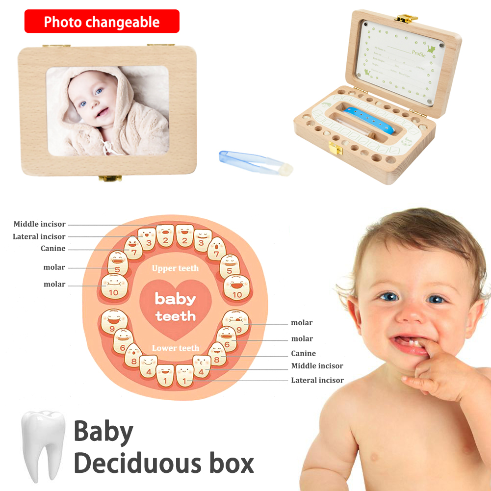 Wooden Photo Frame Fetal Hair Deciduous Tooth Box Organizer Milk Teeth Storage Umbilical Save Collect Baby Souvenirs Gift