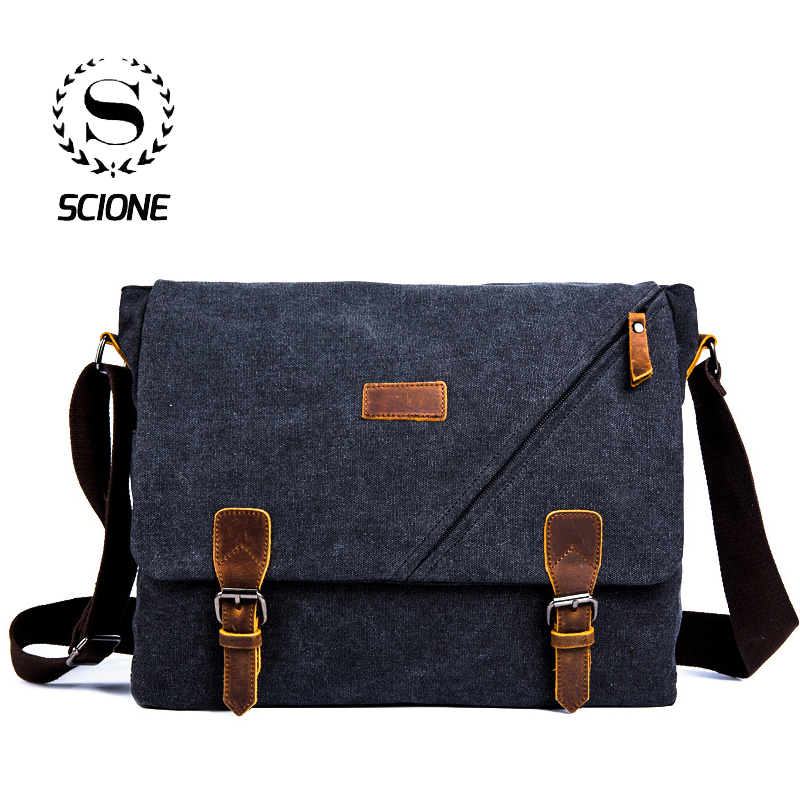 Scione Mens Messenger Bag Briefcase  Vintage Canvas Shoulder Bags Fashion Crossbody Bags For Men Bag