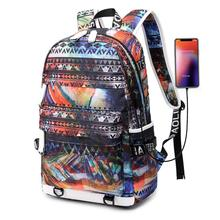 High School Students Colorful Fashion Backpacks For Teenagers Boys Causal Bookbag With USB Port Travel Shoulders Bags Packsack