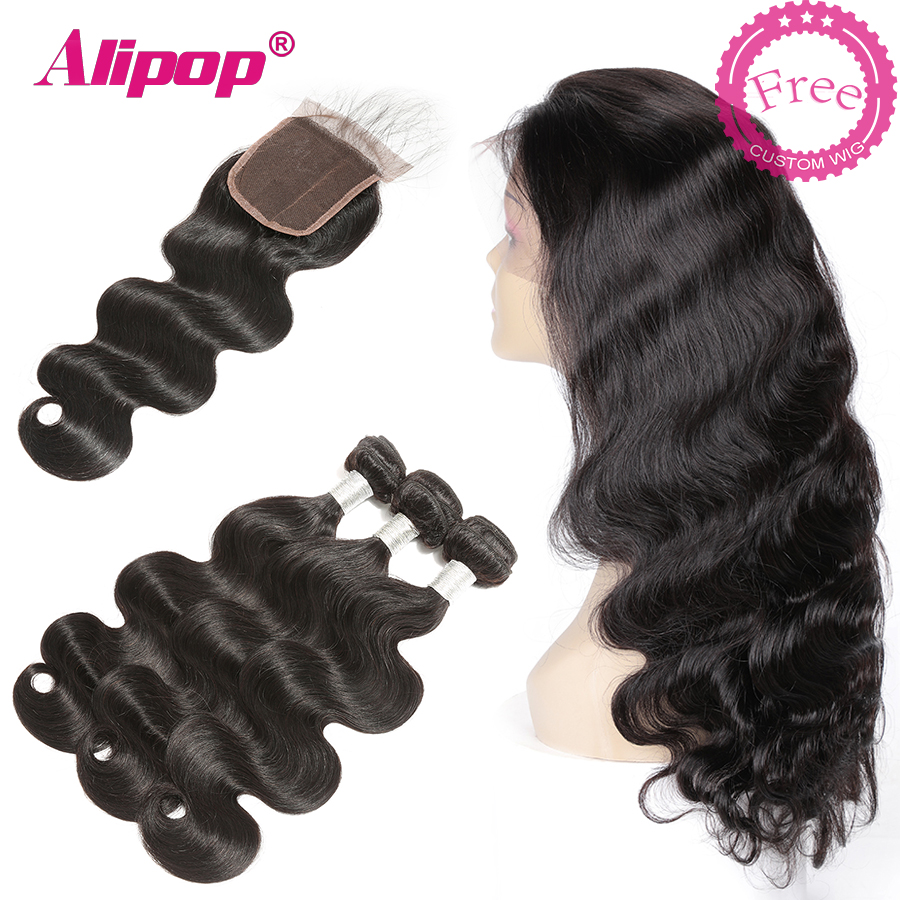 Body Wave Bundle With Closure Brazilian Remy Human Hair Bundles With Closure Can Be Customized Into A 300% Density Wig ALIPOP