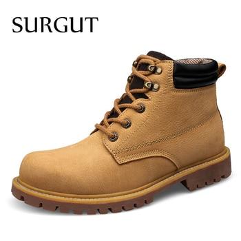 SURGUT Autumn Men Boots Winter Combat Ankle High Quality Leisure Waterproof Daily Working Plus Size 36~48 - discount item  40% OFF Men's Shoes