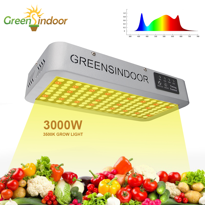 LED Grow Light Full Spectrum 3000W 3500K Phyto Lamp With Timer Daisy Chain Indoor Warm Light For Plant Growing Flowering Herbs