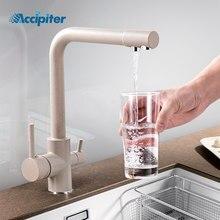 Obrót o 360 stopni mosiądz picie filtrowana woda kuchnia kran Bend i podwójny kątowy i kątowy kran kran zlewu kuchennego