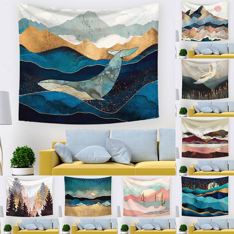 High Quality Farmhouse Decoration Popular Tapiz Sunset Wall Hanging Landscape Tapisserie Tapestry 1PC Bohemian Custom Tenture image