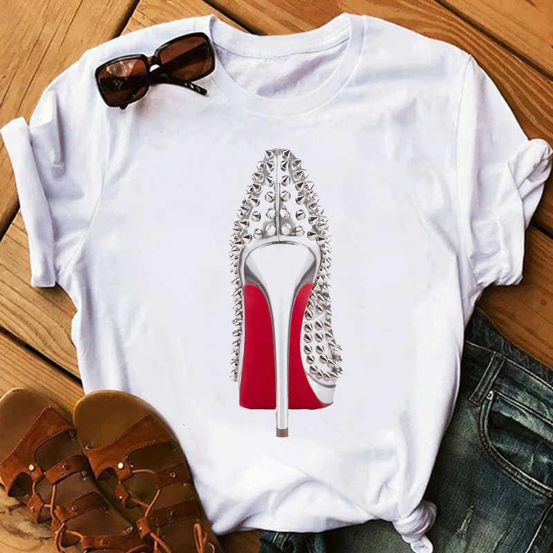 חולצה לא אופנה נשים בגדי 2020 הדפסת העקב נשי חולצה אופנה נעלי לבן ורוד חולצת טי femme קיץ חולצות streetwear