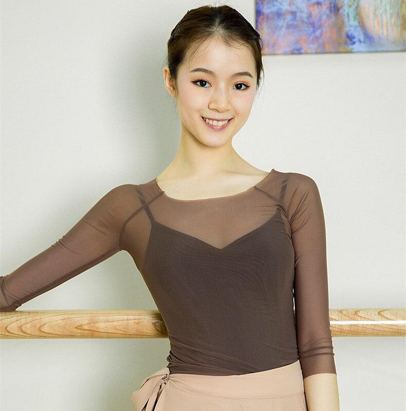 Классическая танцевальная одежда, газовая Одежда для взрослых, тренировочная одежда 3/4 с длинным рукавом, балетная сетка, топ, балетная одеж...