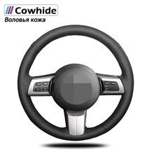 Handsewing Black Genuine Leather Steering Wheel Covers For Mazda MX 5 2009 2013 RX 8 2009 2010 2011 2013 CX 7 CX7 2007 2008 2009