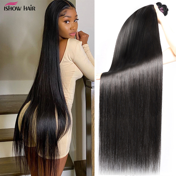 Ishow Peruvian Hair Bundles Straight Bundles 30 32 34 36 38 40inch Long Virgin Hair Weave Bundles 1 3 4 Bundles Deals Extension image