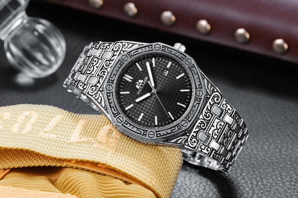 Hfcfde5f3caf246368059cfa3ac0ccf51T Men Carved Antique Vintage Luminous Rose Gold Yellow Gold Silver 2 Tones Fashion Blue Classic Quartz luxury watch