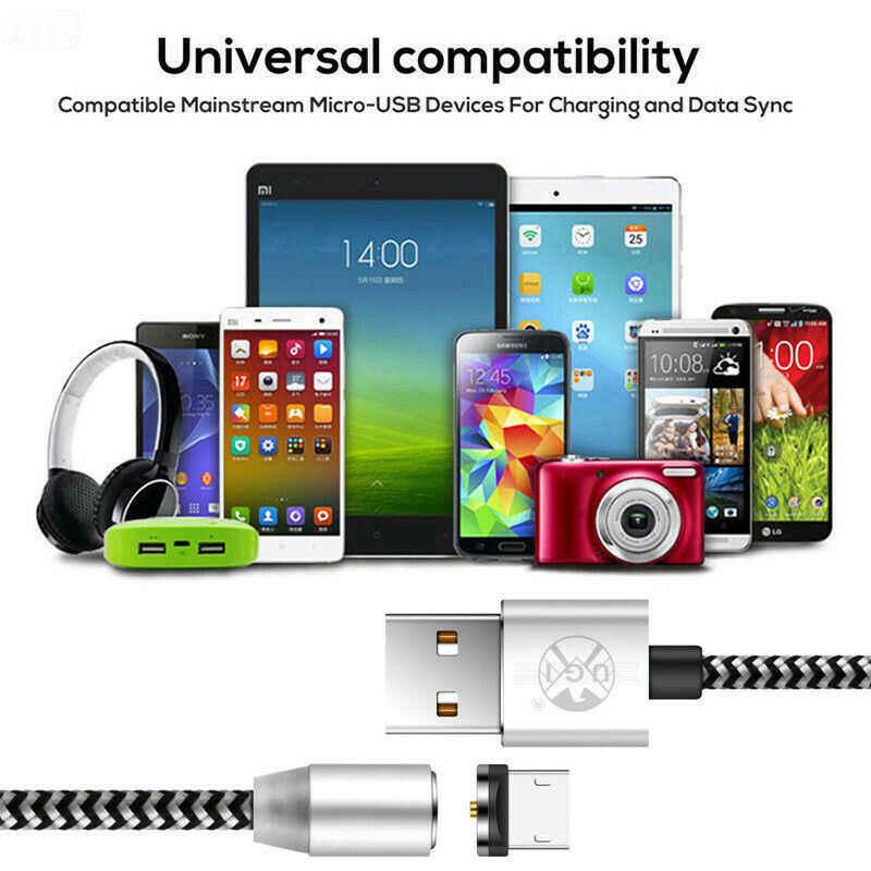 360 ° المغناطيسي 1M 2M 3M المصغّر usb نوع C iOS 2.4A LED سريع كابل الشاحن الحبل ل HTC هواوي الشرف V8 V9 V10 LG 4 5 6