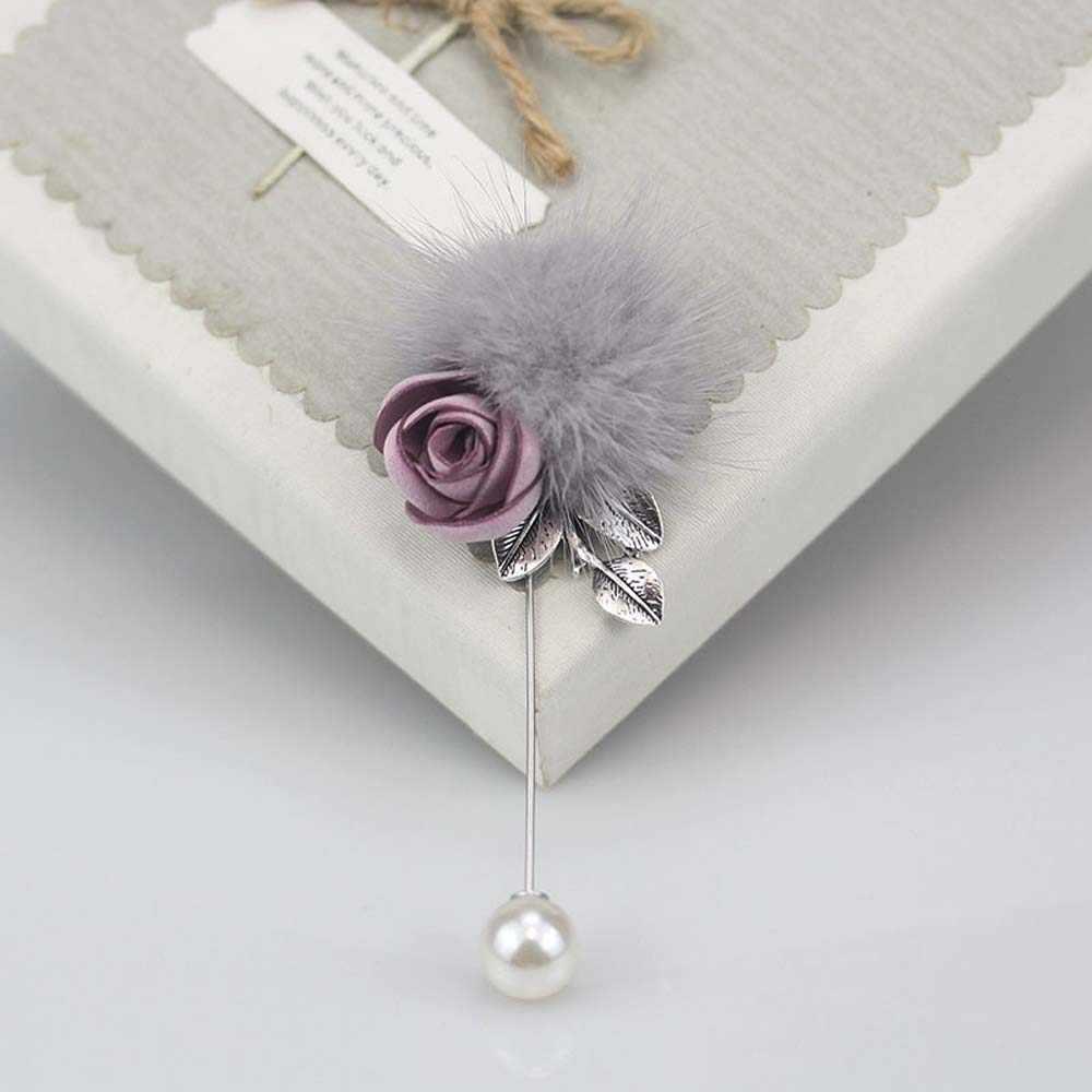 Women Vintage Pearl Flower Pompom Brooch Pins Jewelry Wedding Charm gift UK
