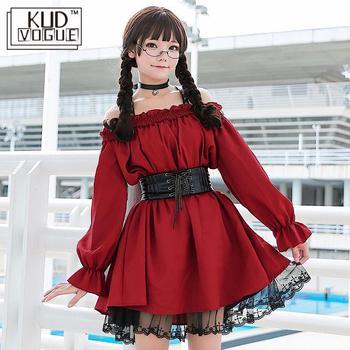 大人アニメメイドコスプレ衣装ロリータドレス女性の甘いワイン赤ゴシックセクシーなオフショルダーかわいいパーティーの服