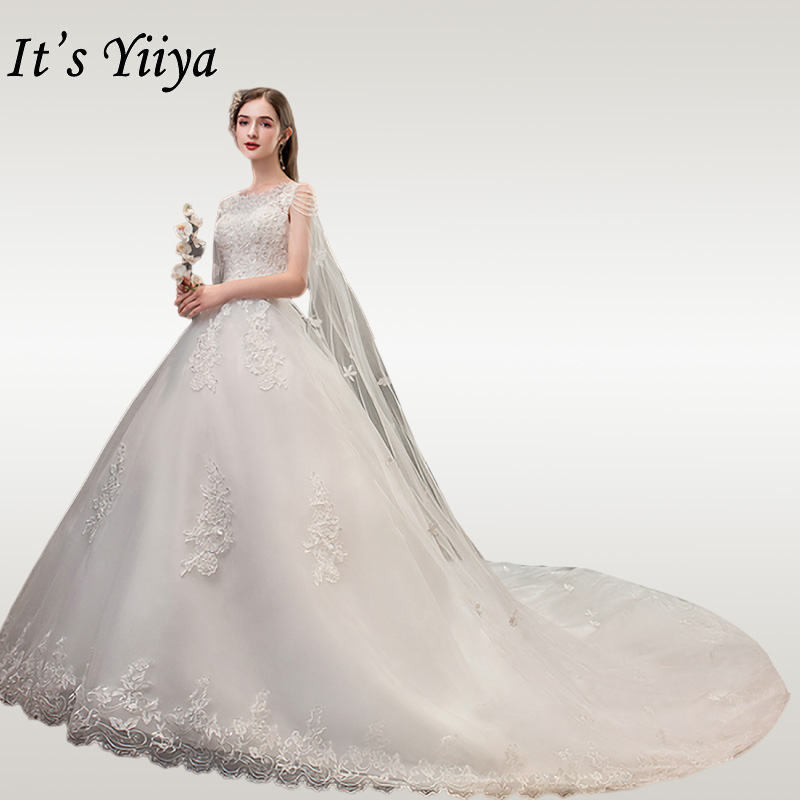 It's YiiYa Wedding Dresses Plus Size Shawl Wedding Dress Elegant O-neck Beading Lace O-neck Long Vestido De Novia 2020 D32
