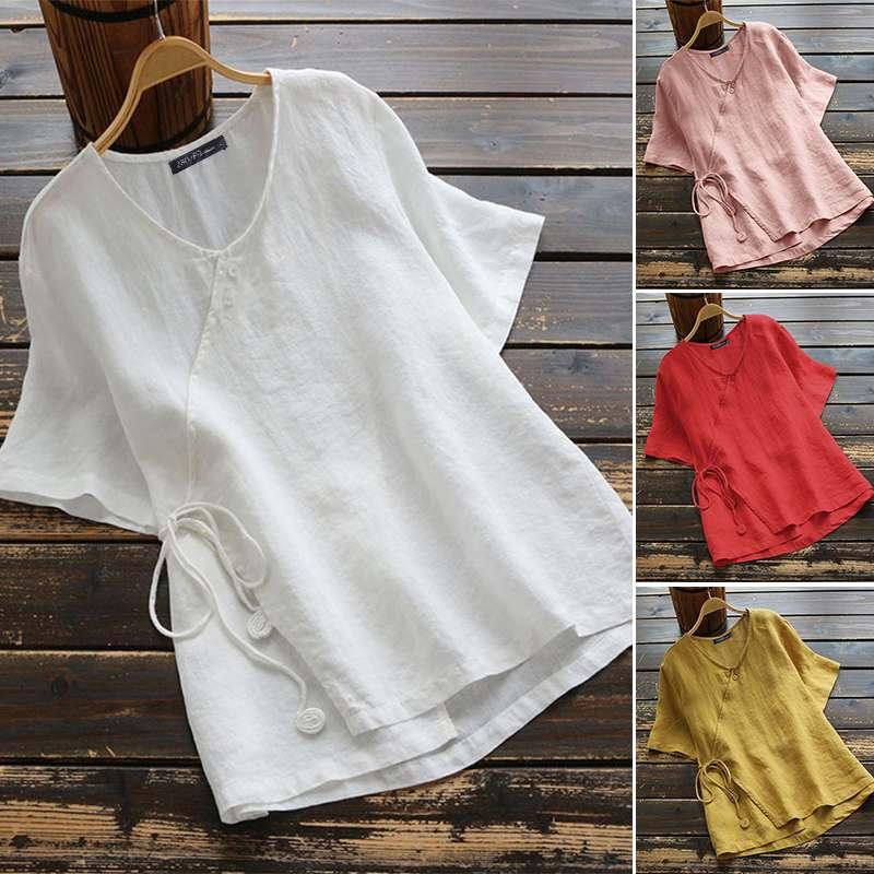de algodão trabalho sólido blusas casual robe