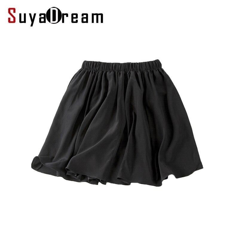 100% REAL SILK Women CHIFFON Divided Skirt PANTSKIRT BALL GOWN Cheer Midi Saia Feminina Casual Summer Style Falda Black