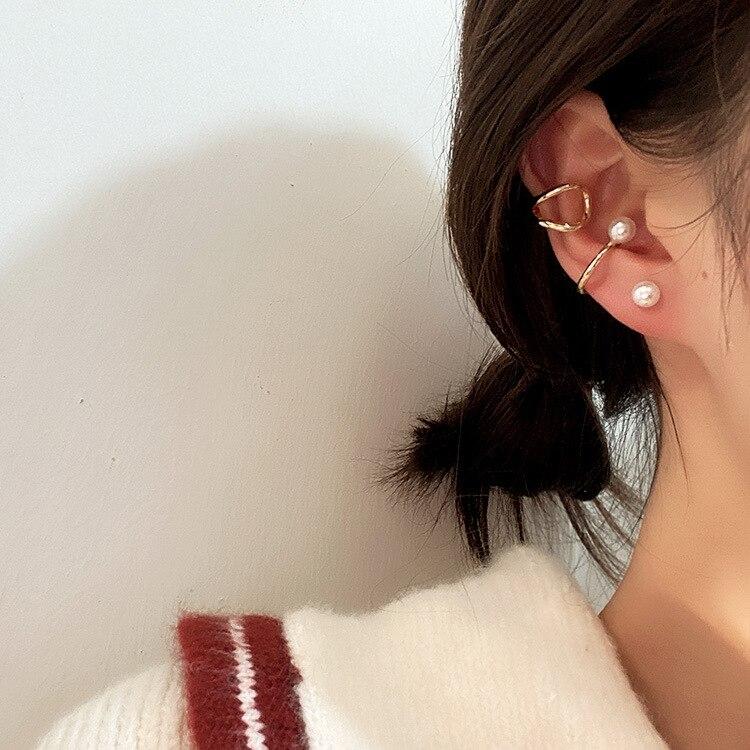 3pcs/sets Minimalist Pearl Ear Cuff Pearls Cross Clip Earrings without Piercing Elegant Earcuff Women Clips Jewelry