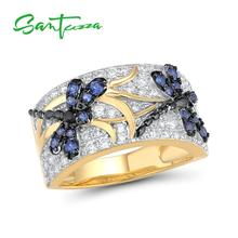 SANTUZZA Silver Rings For Woman Sparkling Blue Spinels White Cubic Zirconia Genuine 100 925 Sterling Silver Ring Fine Jewelry cheap 925 Sterling Women GDTC Pave Setting R315136BNBZSZ925 Insect TRENDY Wedding Bands Party White Rhodium Yellow gold Plated