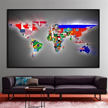 Map of The World Wall Sticker 90x60cm Small Poster Decoration with Flags Wallpaper World Atlases Maps for Home School Education flags of the world