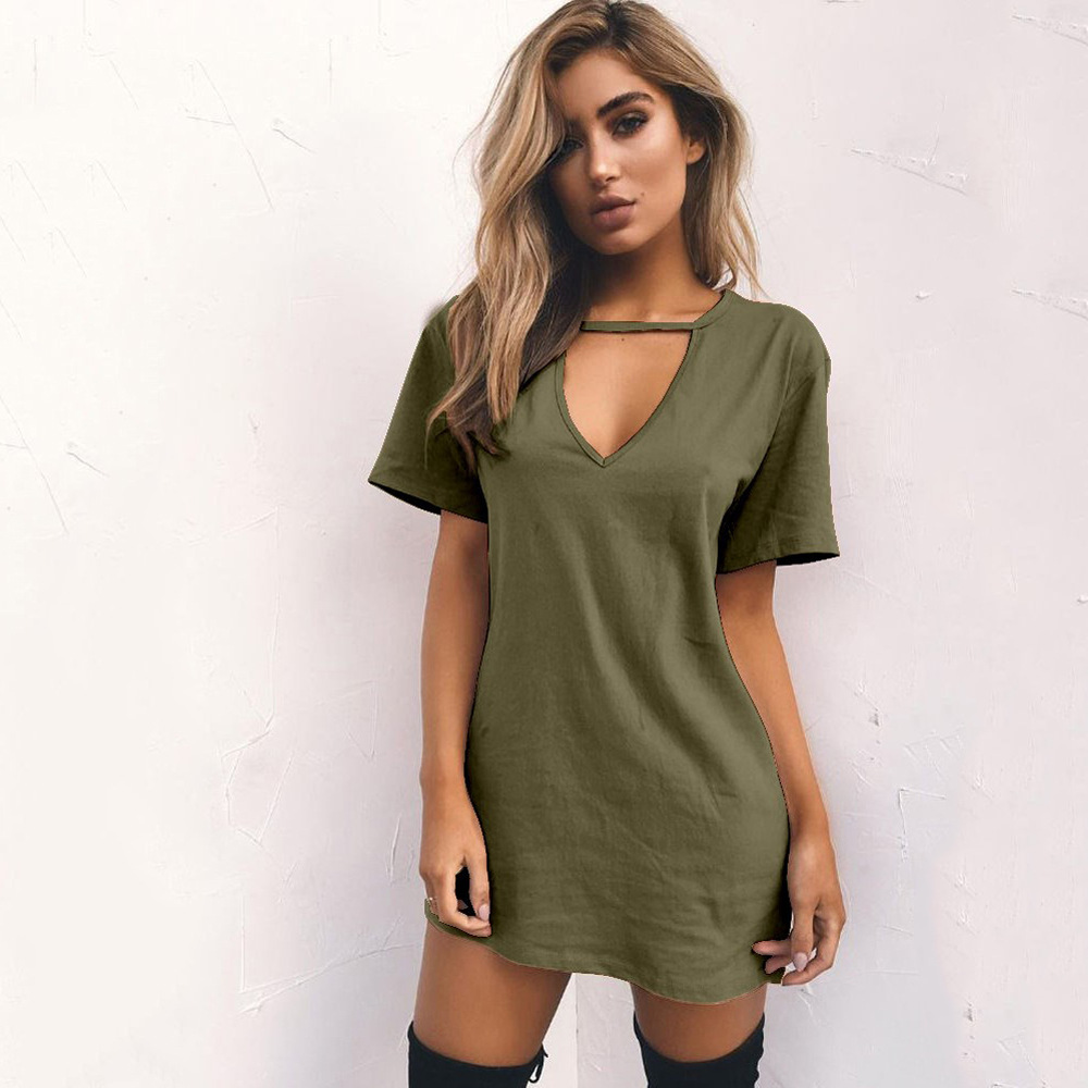 Women Fashion V-neck Solid hollow Elegant Straigth Green Dress Spring Loose Mini Dresses Short Sleeve comfortable Plus Size