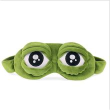Funny Creative Pepe The Frog Sad Frog 3D Eye Mask Cover Sleeping Rest Cartoon Plush Sleeping Mask Cute Anime Gift(China)