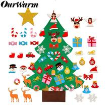 OurWarm New Year Gifts Kids DIY Felt Christmas Tree Decorations Toys 2019 Years Door Wall Hanging Ornaments