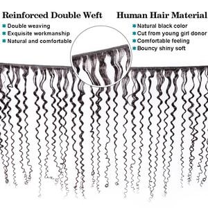 Image 2 - 360 demetleri ile Frontal Kinky kıvırcık demetleri ile Frontal İnsan saç 2 demetleri dantel Frontal kapatma ile Remy saç uzatma