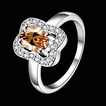 Fashion Classic Shiny Zirconia Elegant Ring for Women Love Engagement Luxury Jewelry Party Silver Plated Gift SPR045-A image