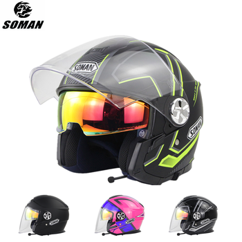 SOMAN Bluetooth Motorcycle Helmet Open Face Scooter with Headset Electric Bike ECE Casco Moto