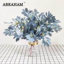 50cm 9 Fork Autumn Decorative Leafs Bouquet Silk Artificial Plant Fake Eucalyptus Leaves Branch For Christmas Wedding Home Decor